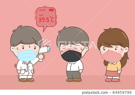 Patient temperature check is not pass. Covid-19 Concept. Vector Illustration 64959799