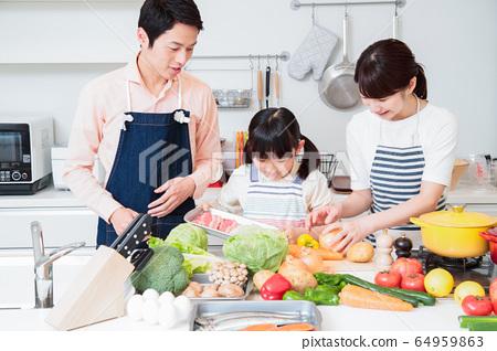 주방 요리 가족 부모와 아이 라이프 스타일 64959863