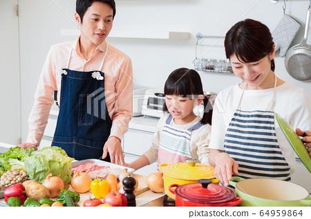 주방 요리 가족 부모와 아이 라이프 스타일 64959864