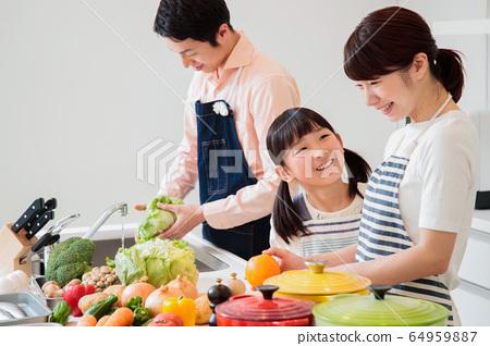 주방 요리 가족 부모와 아이 라이프 스타일 64959887