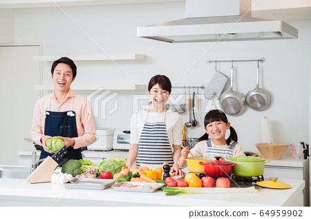 주방 요리 가족 부모와 아이 라이프 스타일 64959902