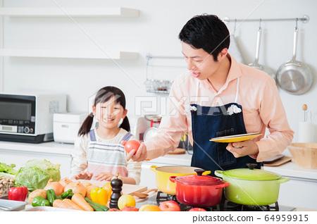 주방 요리 가족 부모와 아이 라이프 스타일 64959915