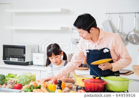 주방 요리 가족 부모와 아이 라이프 스타일 64959916