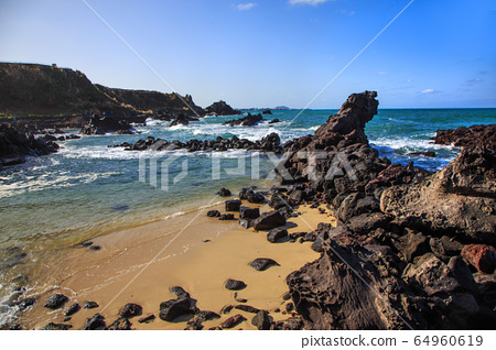 Jeju island ollegil beachside scenery 64960619