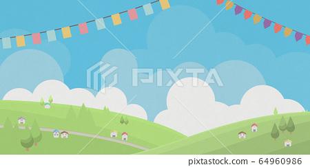 도시 - 초원 - 언덕 - 푸른 하늘 - 깃발 64960986