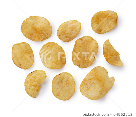Consomme potato chips placed on a white background 64962512