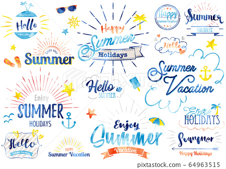 夏季標題字母水彩2 64963515