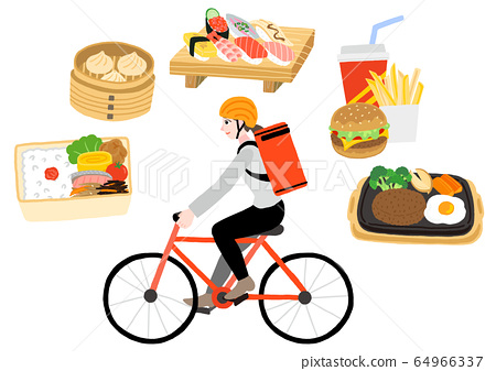 送貨上一輛自行車的女人 64966337