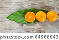 three tangerines and big leaf 64966643