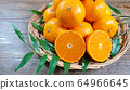 tangerines in basket and green leaves 64966645