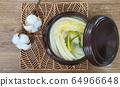 Korean white Kimchi on the wooden mat 64966648