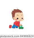 小男孩玩迷你車 64966924