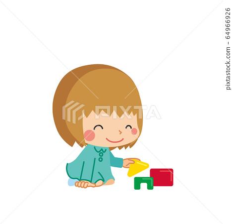 小女孩玩積木 64966926