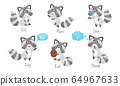 Cute Raccoon Engaged in Eating and Running Activity Vector Set 64967633