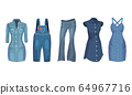 Denim Blue Clothing Items as Womenswear with Denim Dress and Overall Vector Set 64967716