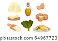 Gnocchi Ingredients with Butter and Eggs Vector Set 64967723