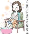 [感冒]洗脚盆的妇女 64968125
