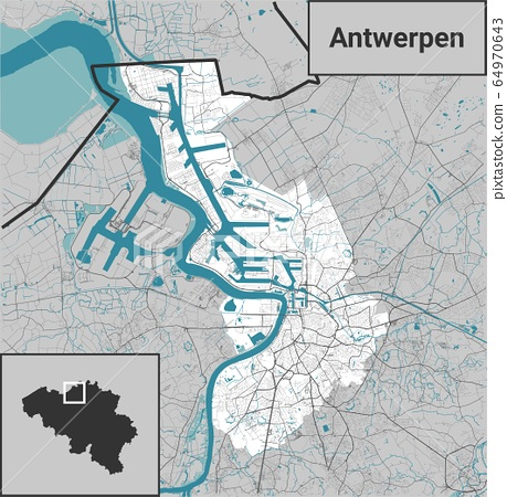 Antwerpen Antwerp Belgium map with rivers, water, roads and highways on white background 64970643
