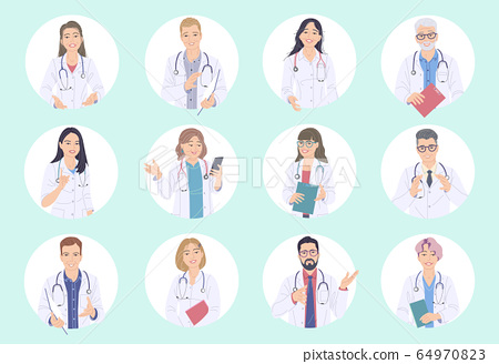 Doctors Male and Female Avatar Set. 64970823