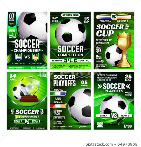 Soccer Sport Event Flyer Promo Posters Set Vector 64970908