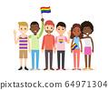 Cute cartoon interracial people group of LGBT  64971304