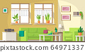 Living Room With Furniture 64971337