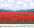 Nature Scene with Red Poppy Field, Hills, Clouds 64971633
