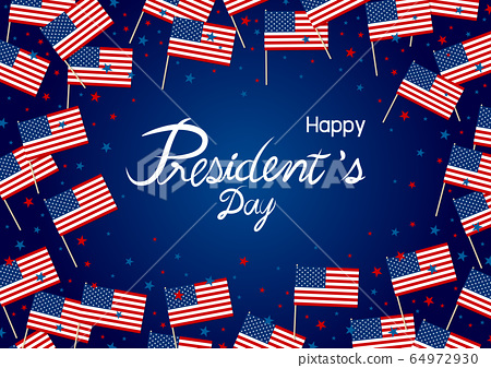 President's day design of america flag and star 64972930