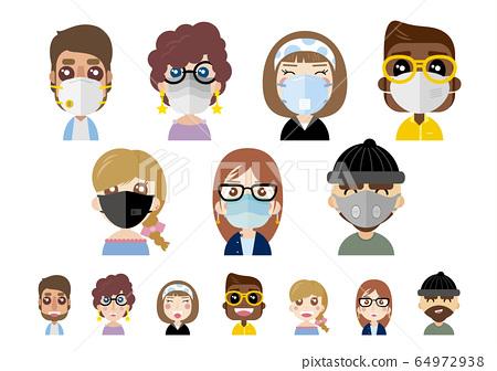 People wearing dust masks on white background 64972938