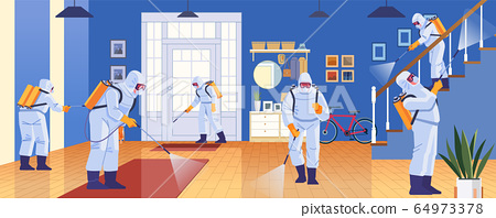 Home disinfection by commercial disinfecting services, surface treatment from pandemic coronavirus. Disinfectant workers wear protective mask and suit sprays covid-19. Vector illustration 64973378