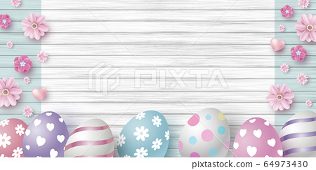 Easter day design of eggs and flowers 64973430