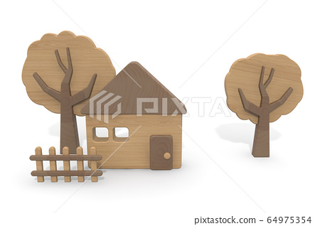 Wooden house. Countryside view. Wooden toys. 3D rendering 64975354