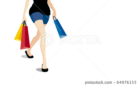 Woman walking with colorful shopping bags 64976153