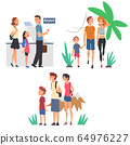 Happy Families Going on Summer Vacation Set, Tourists Travelling with Backpacks and Suitcases Vector Illustration 64976227