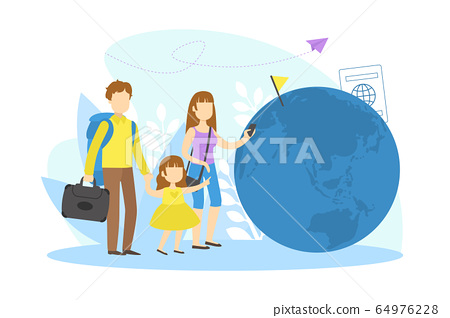 Family Travelling on Vacation, Mother, Father and Their Daughter Enjoying Trip Around the World Vector Illustration 64976228