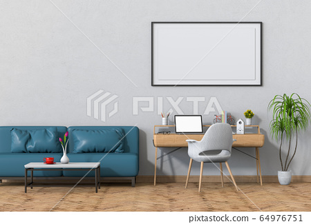 3D render of interior modern living room workspace with sofa, desk, desktop computer 64976751