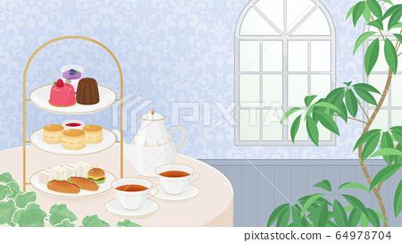 下午茶背景illustration_blue_16:9 64978704