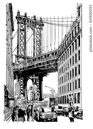 View of Manhattan Bridge from brooklyn 64980091