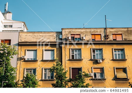 Old town yellow building in Novi Sad, Serbia 64981495