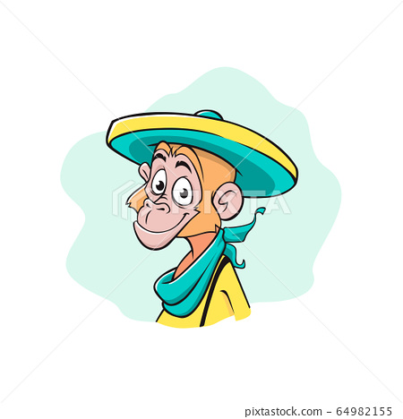 The face of a monkey in a mexican sombrero. Cartoon, color style illustration 64982155