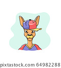 Funny keguru face in a baseball cap. The illustration is made in the style of cartoon 64982288