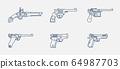 Pistol evolution outline vector icon set 64987703