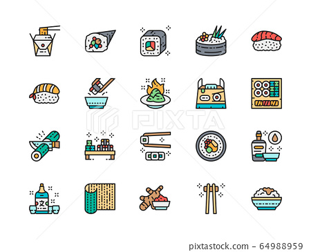 Set of Japanese Food Color Line Icons. Ginger, Temaki, Wasabi, Sake and more. 64988959