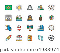 Set of Brazilian Culture Flat Color Icons. Toucan, Surfboard, Soccer and more. 64988974