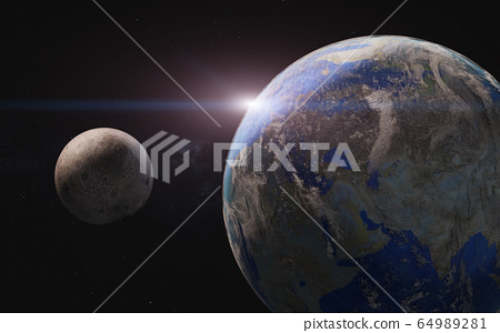 Planet earth and moon in outer space.  64989281