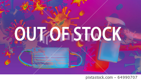 Out of stock theme with face mask and spray bottle 64990707