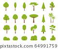 Green summer tree flat bush forest icon vector set 64991759