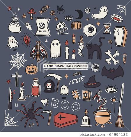 set of Halloween doodle, hand draw sketch vector. 64994188