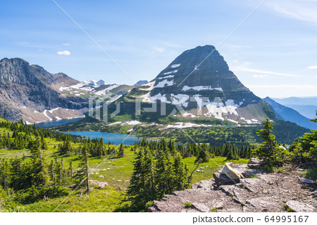logan pass trail in Glacier national park on sunny 64995167