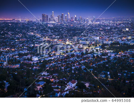 beautiful los angeles skyline at night. 64995308